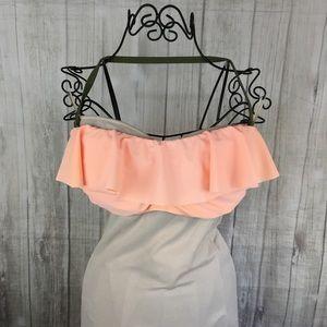Xhilaration Peach Ruffled Bandeau Halter Bikini XL